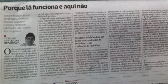 Discussão sobre o sistema inglês e o sistema brasileiro de saúde.